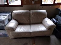 Cream Leather 2 seater sofa very good condition