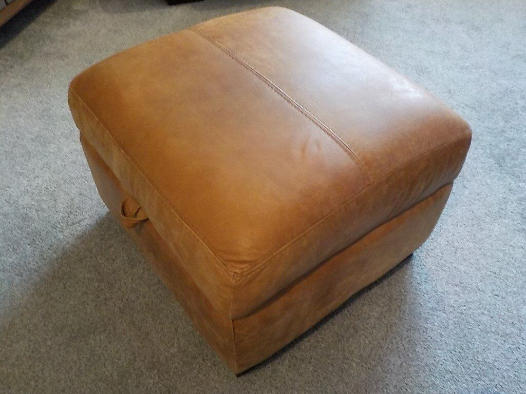 CAESAR FOOTSTOOL WITH STORAGE 100% NATURAL LEATHER (RANCH)