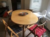 "Beech folding table (""Flynn"" - John Lewis) + 4 folding chairs"