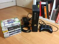 Xbox 360 with all leads, controller and 10 games