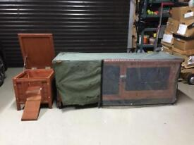2 x Rabbit or Guinea Pig Hutches + Waterproof Cover