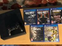 SLIM PLAYSTATION 4 PS4 CONSOLE 500GB WITH GAMES (OPEN TO OFFERS)