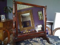 Antique mirror on stand, made from mahogany