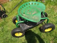 Rolling Garden Cart Work Seat With Heavy Duty Tool Tray Gardening Planting