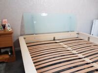 Solid Queen size pine bed frame with curved glass head board