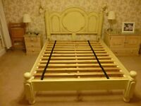 UK King Size Double bed frame with antique style integrated headboard cream.