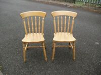 Solid Beech Heavy & Sturdy Pair Of Kitchen Chairs