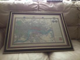 Framed map of central London.