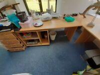 Large home Office Desk, matching Pedestal Drawer Unit and Shelves - wood veneer