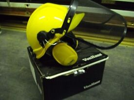 Two Safety helmets with ear defenders and visors.
