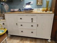 Wooden painted and waxed sideboard cupboard dresser kitchen living room