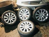 """Audi a4 alloys 17"""" 4 X with tyres can fit a1,a2,a3,a4,a5,seat,skoda,vw"""