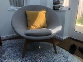 West Elm Luna Chair Feather Gray:Natural Oak