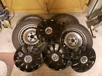 VW t5 steels and black wheel Trims