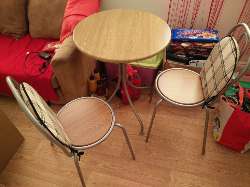 Table and 2 chairs asapin Bournemouth, DorsetGumtree - Hi, for sell in very good condition table and two chairs. Sorry, but only collection and cash. diameter 60cm height 75cm Thank You