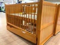 BRAND NEW RRP £279. WILL SELL FOR £165. HAMPTON COTBED ANTIQUE COLOUR BOXED FROM BABIES R US