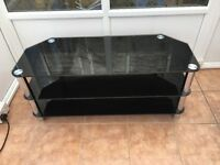 Black glass TV stand, 3 tier suitable for large TV