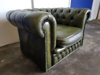 ANTIQUE GREEN CHESTERFIELD ARMCHAIR CLUB CHAIR DELIVERY AVAILABLE