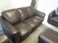 Dark brown real leather 3 three piece suite sofa settee couch armchair 2 chairs poufe good condition