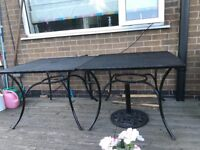 2 Metal Tables and 8 Chairs