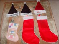 CHRISTMAS SANTA HATS &SANTA STOCKINGS - 50P EACH