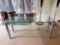 Set of glass tables and console table