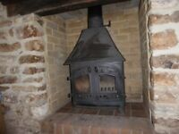 Villager Clearview wood burning stove, with canopy in metallic black
