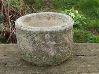 Exquisite Vintage Cherub Detailed Cast Stone Garden Planter Garden Pot