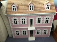 Wooden Dolls House In As New Condition with Minature furniture