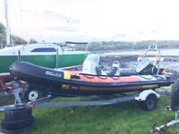 5.5m rib boat, 90hp suzuki engine