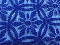 VINTAGE RETRO KITSCH CANDLE WICK DARK BLUE FLORAL PATTERNED FRINGED DOUBLE BEDSPREAD THROW BLANKET
