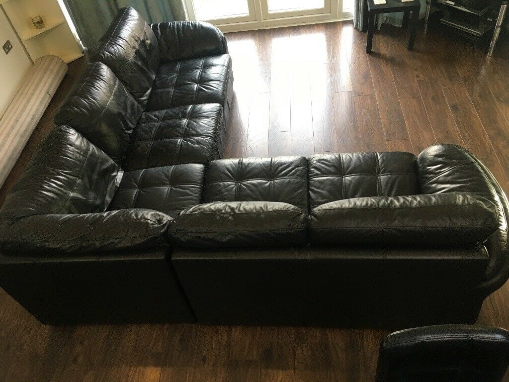 Black leather corner sofa excellent condition 260cm x 260cm