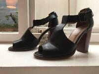 Office black sandals heels, leather size 39.