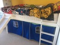 Kids mid sleeper cabin bed with slide and tent