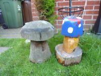 2x wooden garden mushroom ornaments.