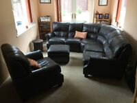Brown leather corner suite with footstool 5 year old £260 no delivery collect only