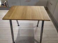 Computer/Office/Study Desk 60cm x 80cm in' Light Oak' with Chrome telescopic/height Adjustable Legs