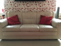 Cream leather three seater and matching two seater for sale