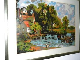 Cross stitch gold framed picture of the Haywain by John Constable