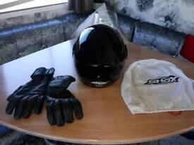 Motorbike helmet gloves and jacket