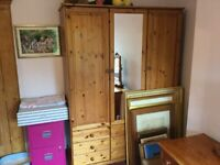 Triple Pine Wardrobe with mirror and drawers