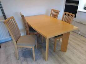 Extending Dining Table & 4 Chairs