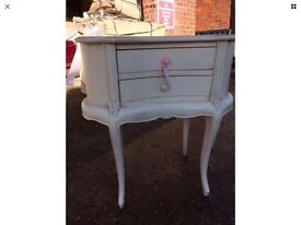 Bedside table shabby chic kidney shape 2 drawers