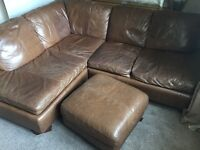 Brown leather corner sofa and foot stool £50
