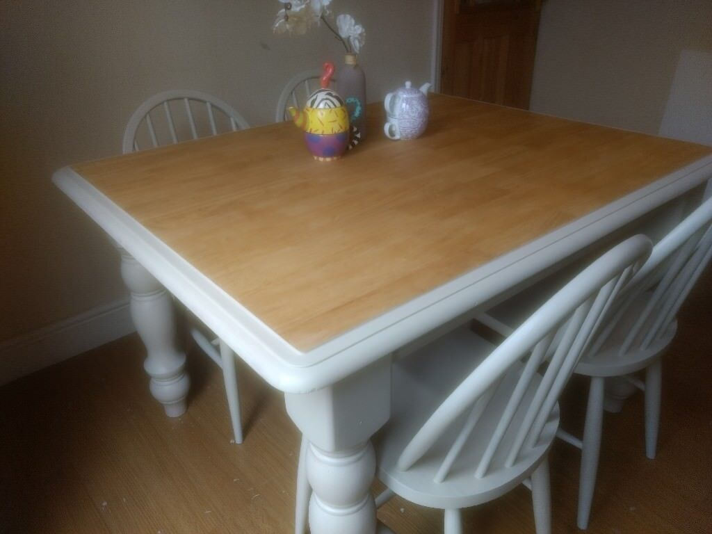 Shabby chic solid pine rubberwood dining table 4 ercol chairs farrow ball