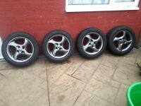 ford 16 inch set of 4 alloy wheels 4 stud fittment with 4 brand new matching 205/55/16 tyres £150