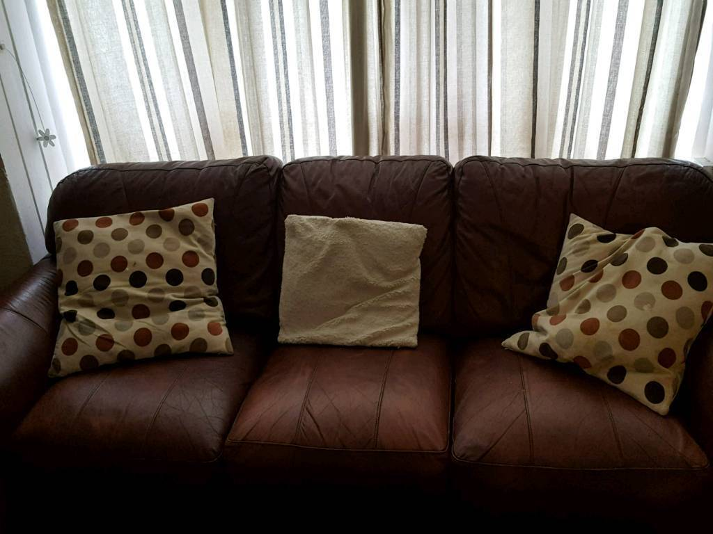 Large 3 seater leather sofas x2