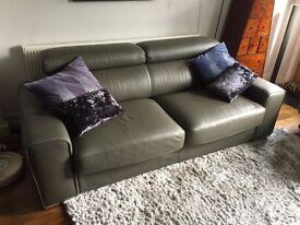Grey Leather Kalamos DFS Sofa Bed