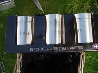 stainless steel tea coffee and sugar canisters
