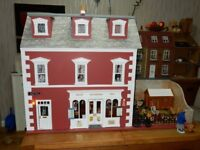 Large 1/12th scale collectors dolls terraced house/shop with garden (not suitable for children).